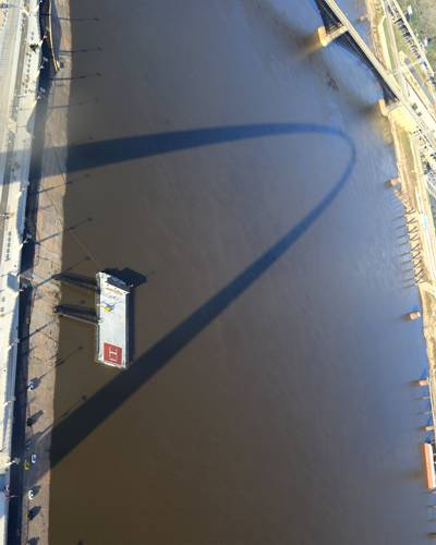 Shadow of the Arch on the Mississippi