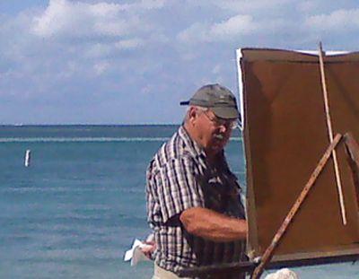 Plein Air Painter, Facing Away from the Beach