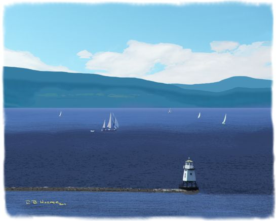 On the Broad Lake, a digital painting on canvas in a Solo Show at NMC through July and August