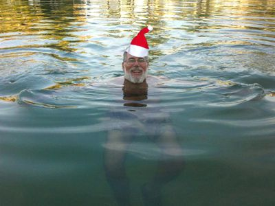 Santa swims on Christmas day