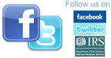 Familiar icons with Follow us on Facebook and Twitter, IRS logo