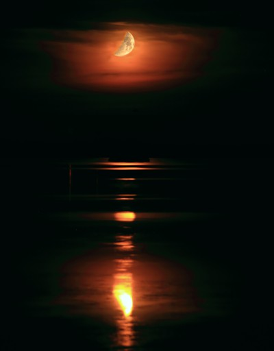 Waxing Crescent Moon over Missisquoi Bay