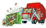 Freelance Editorial Art by Roy Doty: http://www.roydoty.com/posters-editorial/garbage-truck.htm