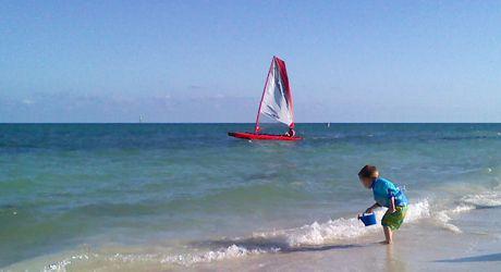 Trimaran Claws off the Beach