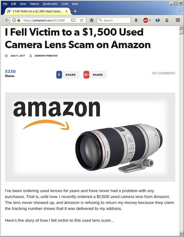 He Fell Victim to a Used Lens Scam